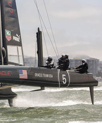 The US based America's Cup syndicate shows off the new hydrofoiling capabilities of their AC45. Despite being much smaller than their AC72, this could be an indication that they have plans for something similar for their entry in America's Cup 34.