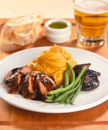 Recipe pork fillet on kumara mash stuff ready in a jiffy cook the beans and kumara together for an even speedier supper forumfinder Choice Image