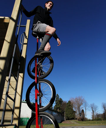 DON'T TRY THIS AT HOME: Geraldine High School student Tom McKeown, 16, has yet to master the art of riding his tri-unicycle. He built the creation during his Tools for Work classes.
