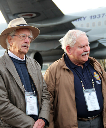 FINALLY RECOGNISABLE: Tom Whyte and Bill Petersen are two Royal New Zealand Air Force Bomber Command veterans travelling to London for the dedication and unveiling of a memorial.