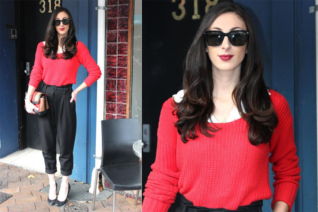 Jessica Amor on George St, Dunedin, wearing a Witchery jumper and heels.