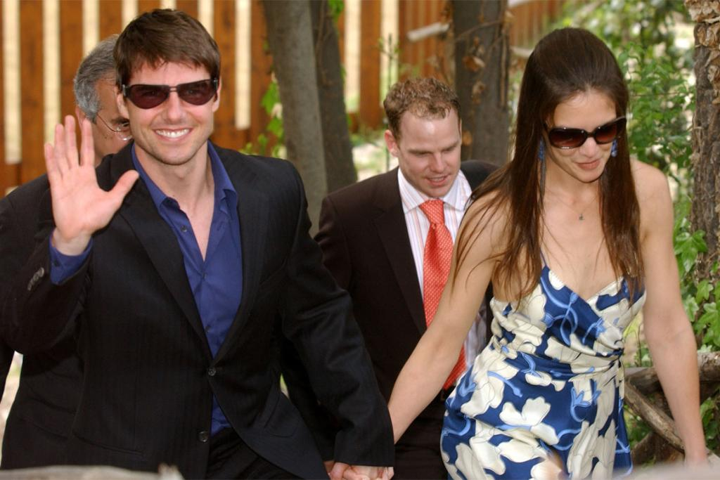 Tom Cruise and Katie Holmes on one of their first outings together in April 2005. Holmes started dating Cruise weeks after splitting from actor Chris Klein.