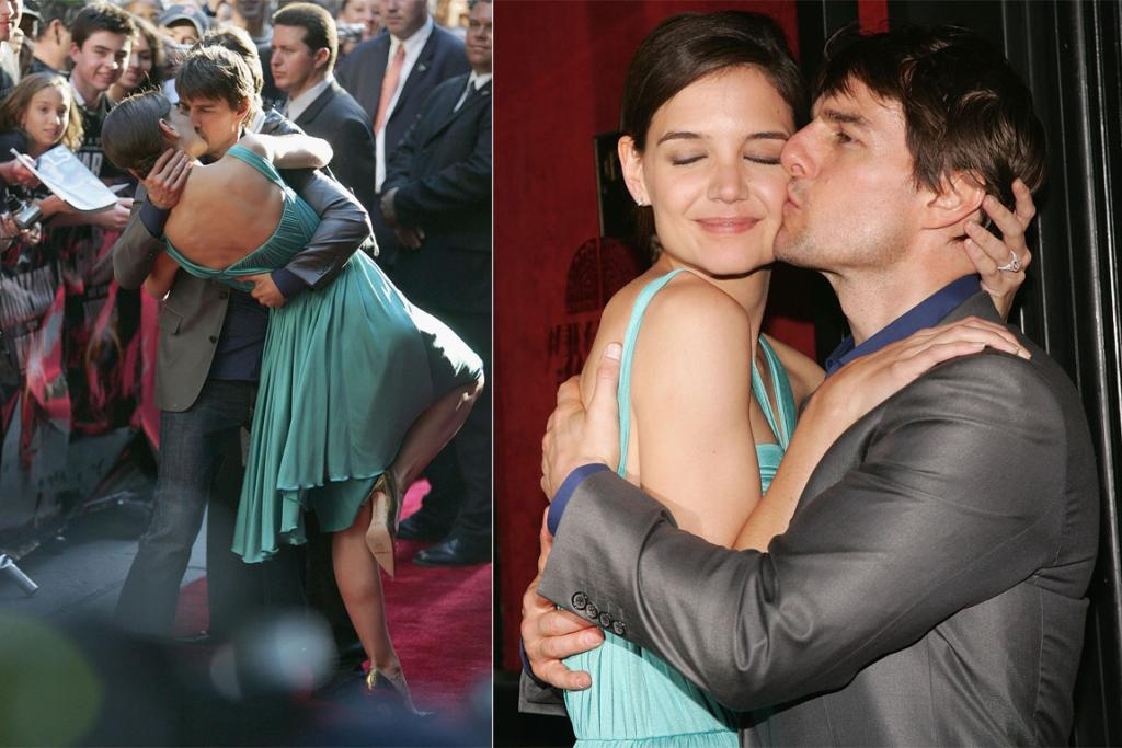 PDA on the red carpet at the War of the Worlds premiere in June 2005, the same day as Cruise's infamous Oprah couch-jumping appearance.