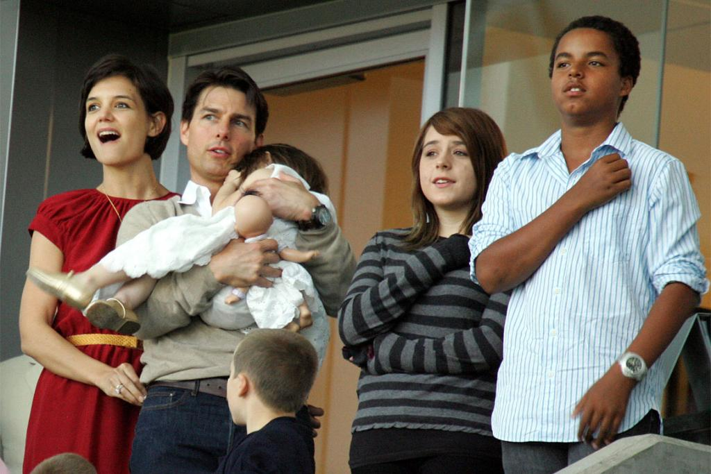 Cruise, Holmes and Suri with Isabella and Connor, the children Cruise adopted with second wife Nicole Kidman.