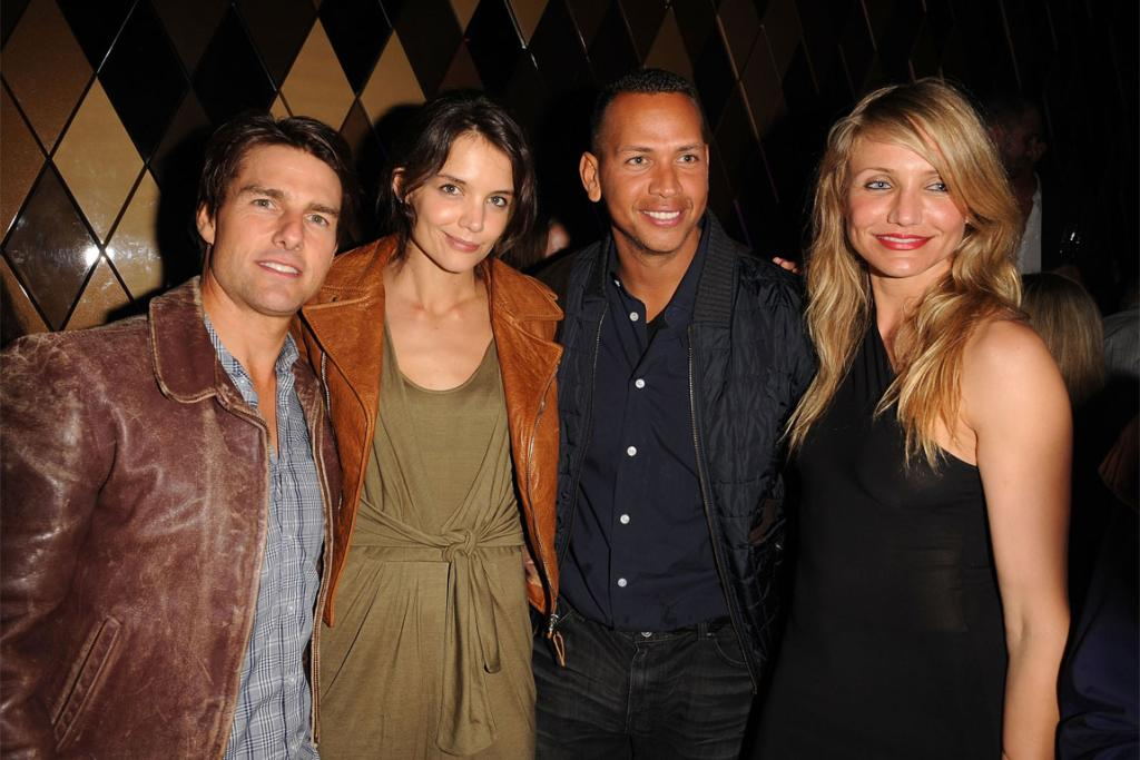 With celebrity friends Cameron Diaz and Alex Rodriguez in 2010.
