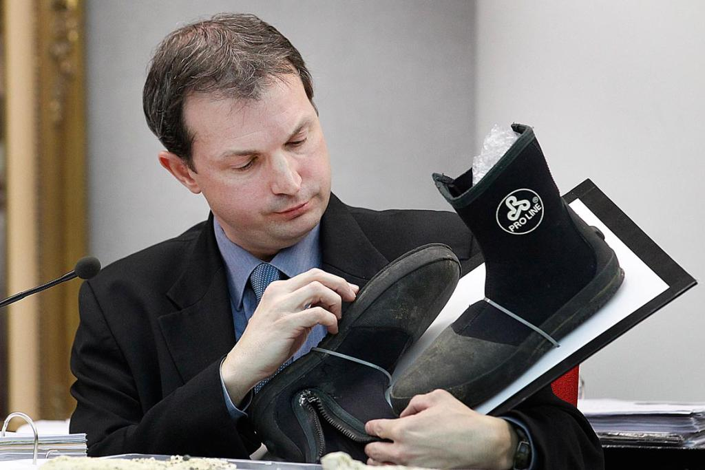 ESR forensic scientist David Neale gives details about Proline dive boots to the jury.