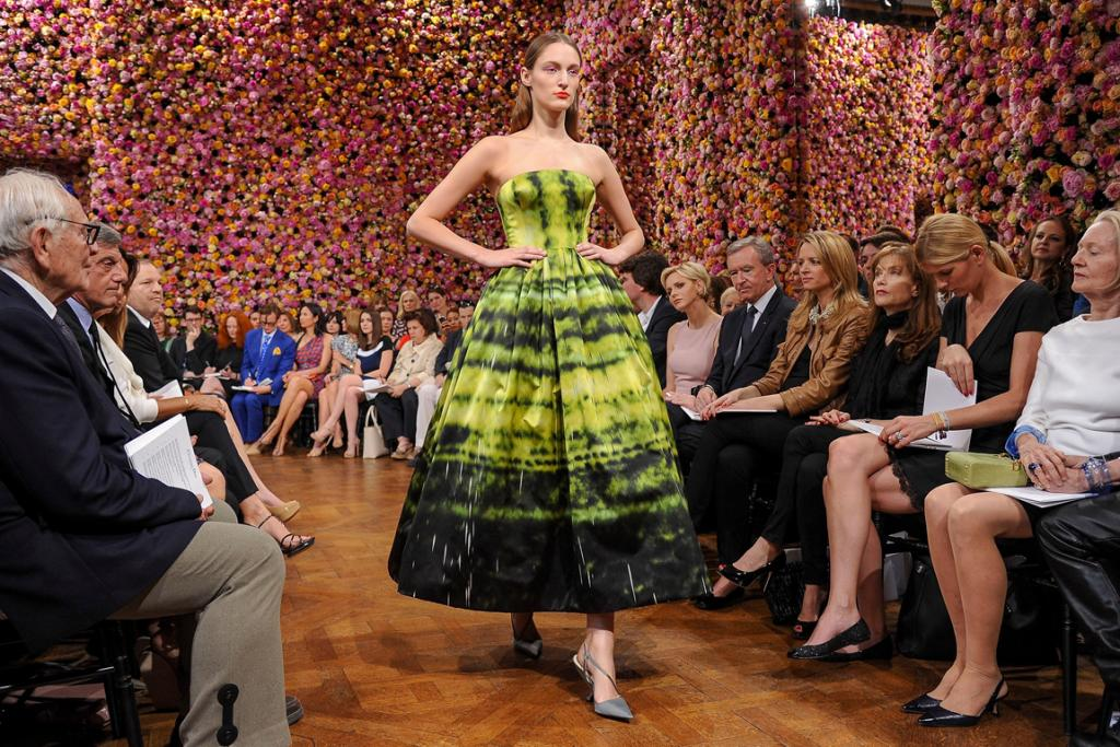 A model on the catwalk at the Dior haute couture show in Paris.