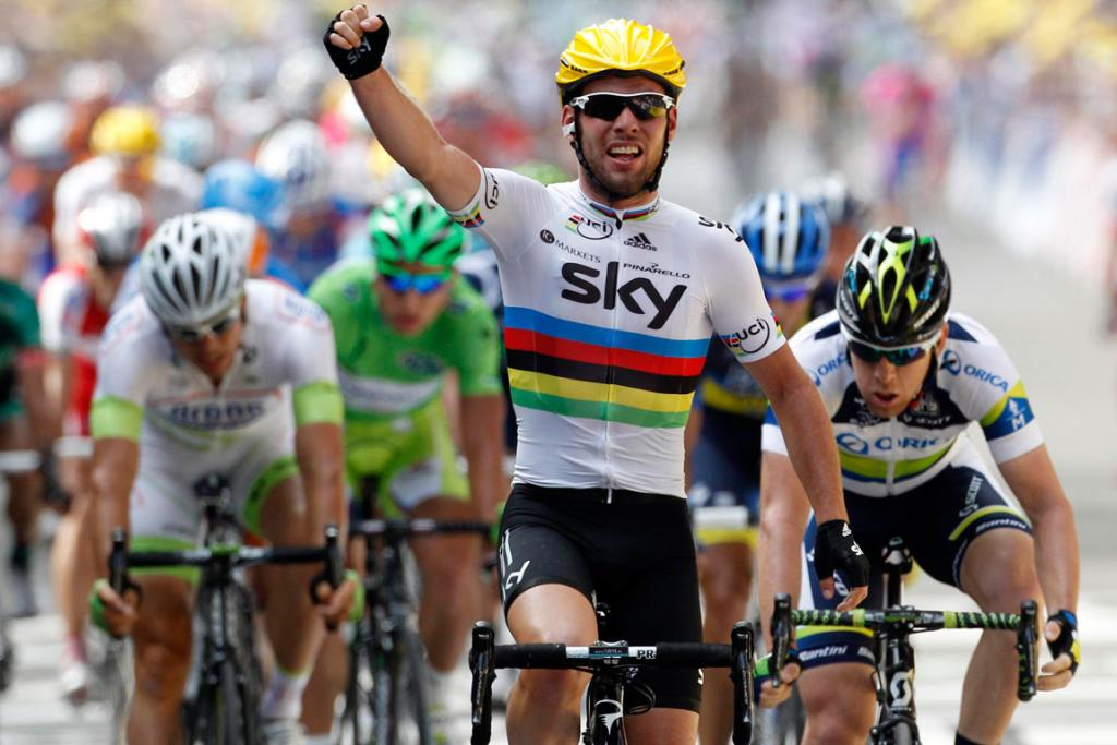 Sky Procycling rider Mark Cavendish of Britain celebrates winning the second stage of the Tour de France.