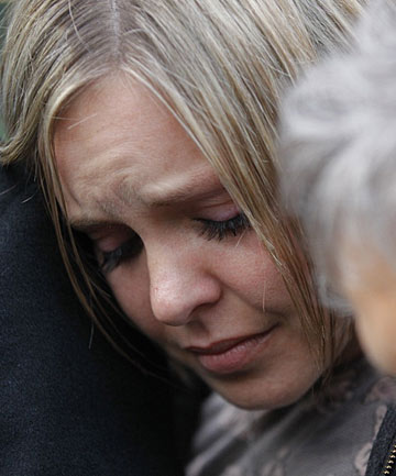 Anna Macdonald reacts outside court after the verdict was read.