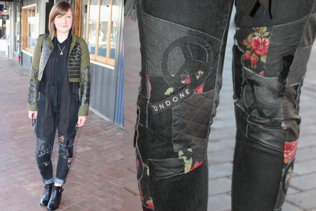 Elise Barnes, photographed on George St, Dunedin, wearing Undone pants and shoes from Overland.