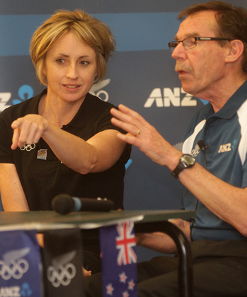 Top table: Gold-medal winning cyclist Sarah Ulmer with New Zealand running legend Dick Quax