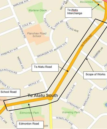 MAPPED OUT: The road widening along Te Atatu Rd and Edmonton roads will add a cycle lane, a median strip and more traffic lights.