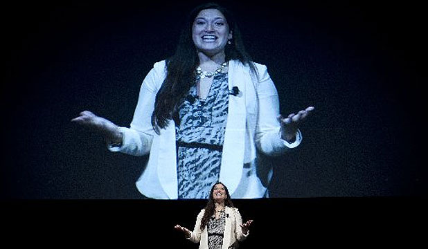 SOCIAL ENGAGEMENT: Randi Zuckerberg speaks to business people and social media enthusiasts at the Viaduct Events Centre.