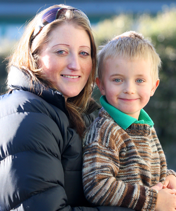 HOUSE SAVED: Rachel Bryce and her son Jack Harding, 4, after Ms Bryce's quick thinking prevented her neighbour's house in Wallacetown from going up in flames.