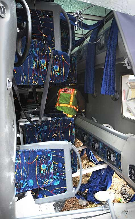 The inside of the bus wreckage.