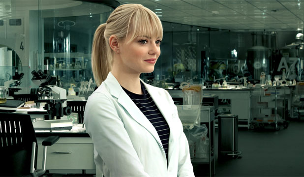 BRAINY BABE: Emma Stone as Gwen Stacy in The Amazing Spider-Man.