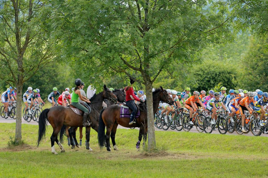 Equestrians watch the peloton pass during stage six.
