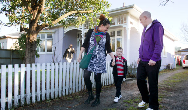 WOULD-BE TENANTS: Melissa Stewart and Scott Barnes with son Kalani Busby, 6.