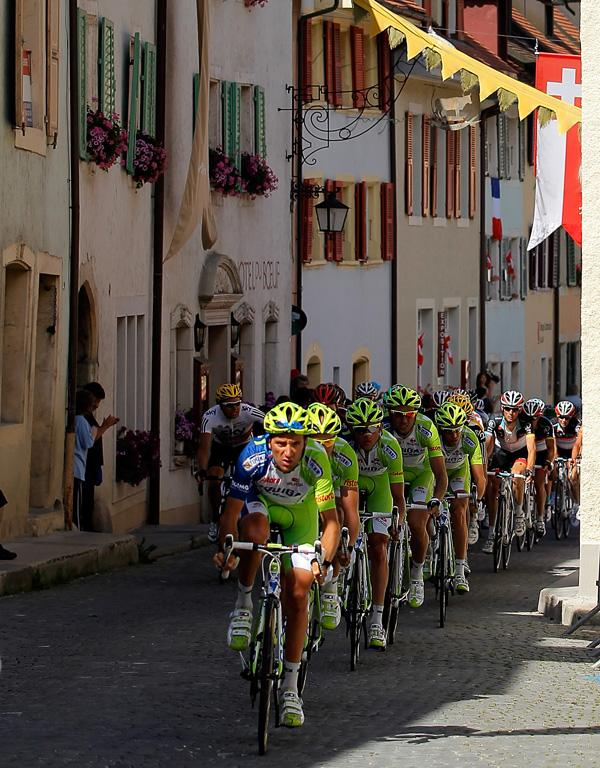 Liquigas-Cannondale leads the peloton during stage eight from Belfort, France to Porrentruy, Switzerland.