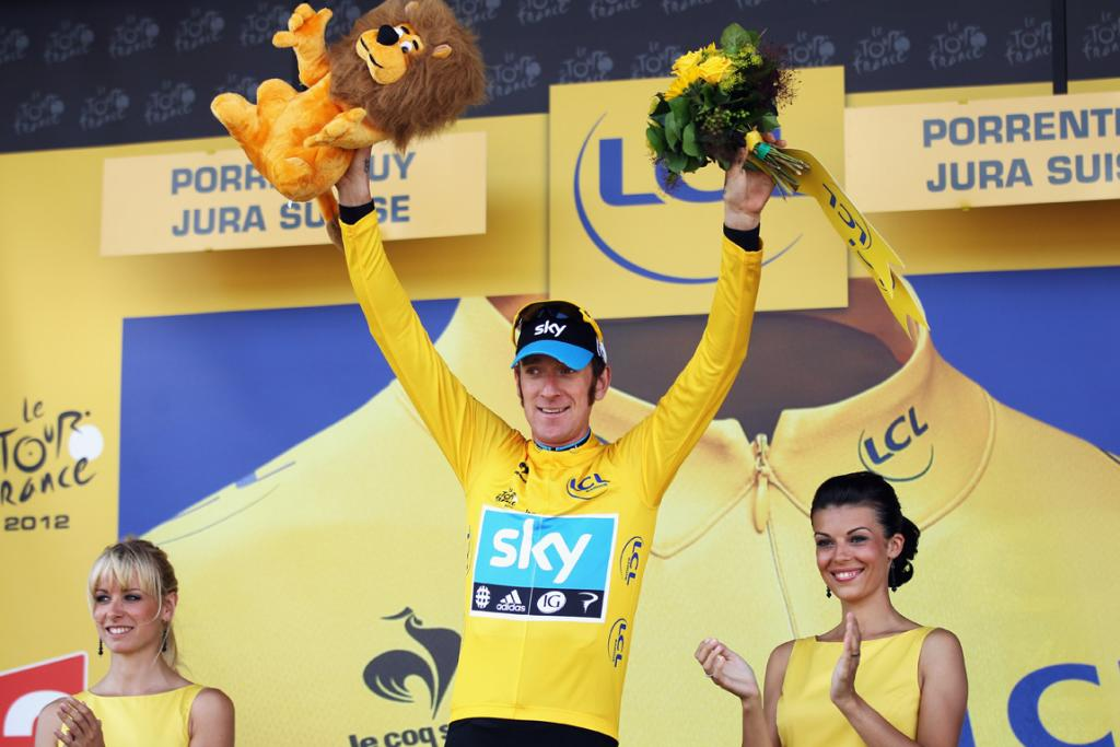 Bradley Wiggins celebrates retaining his yellow jersey after stage eight.