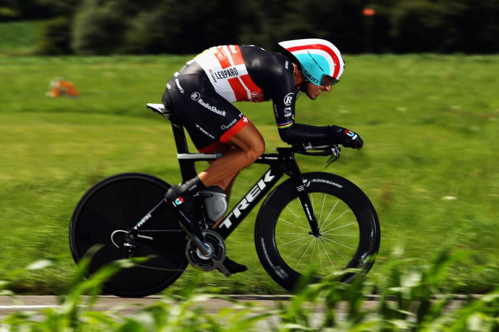 Fabian Cancellara of Switzerland powers across the French countryside.