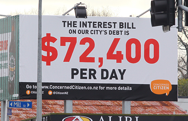 STARK FIGURES: Council critic Ray Stark's latest Hamilton billboard shows ratepayers are spending $72,400 a day on the city's debt.