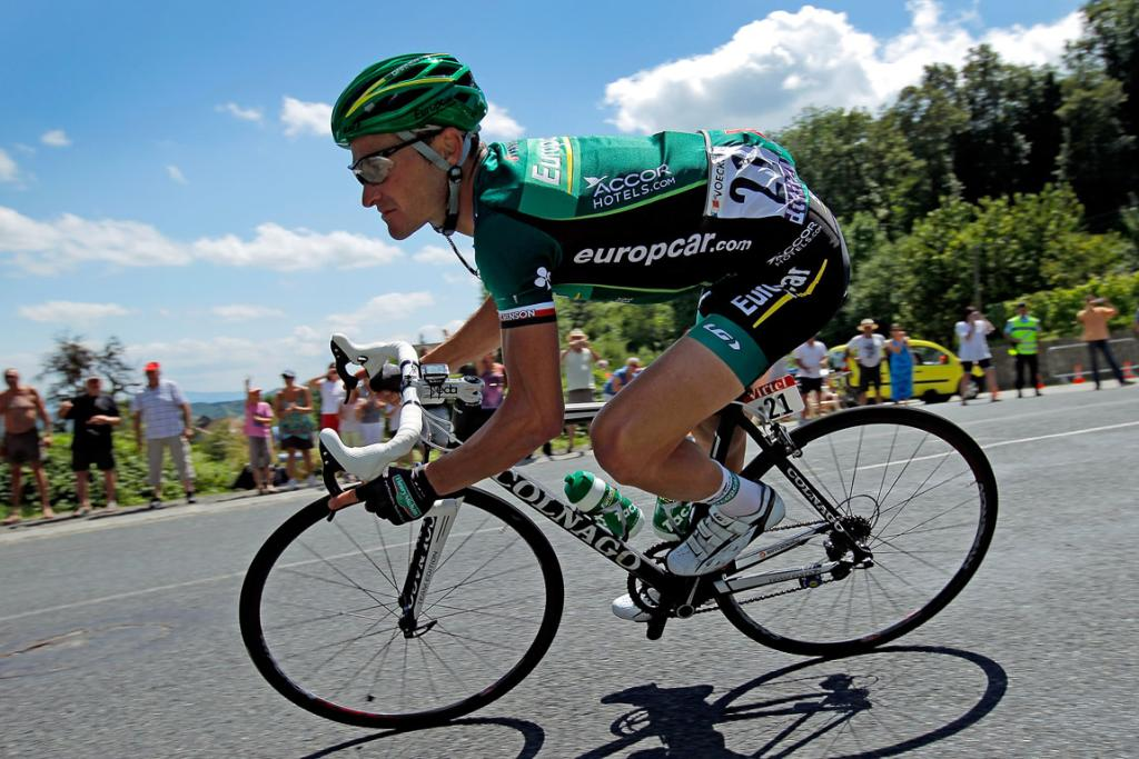 Thomas Voeckler of France descends the Col du Grand Columbier en route to winning stage ten.