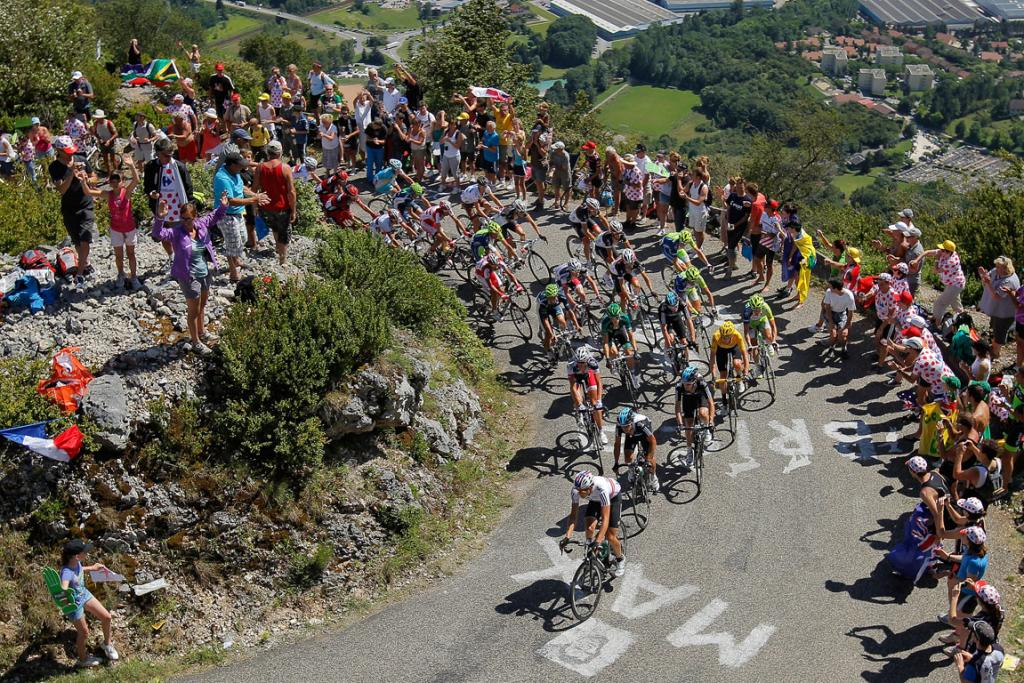 The peloton makes the climb of the Col du Grand Columbier during stage ten.