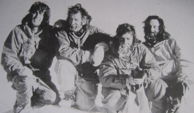 NEW YEAR: From left: Ken Sullivan, Barry Waterhouse, Gary Brehaut and David Skinner at the summit of Mt Cocks in Antarctica at 2am on January 1, 1976.