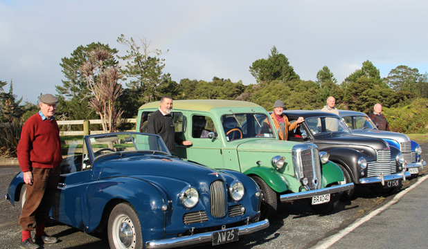 CLUB CLASSIC: From left: Neil Moore, Ken Brownlie, Malcolm Mitchell, John Godfrey and Allen Stanley of the Jowett Car Club.