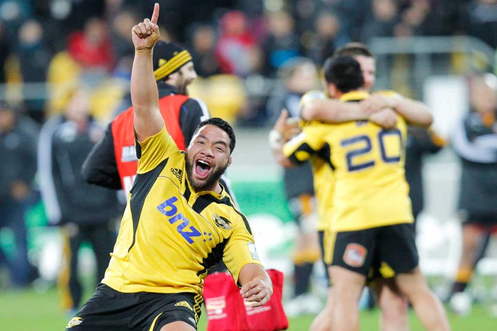 Hurricanes' Motu Matu'u celebrates their win over the Chiefs.