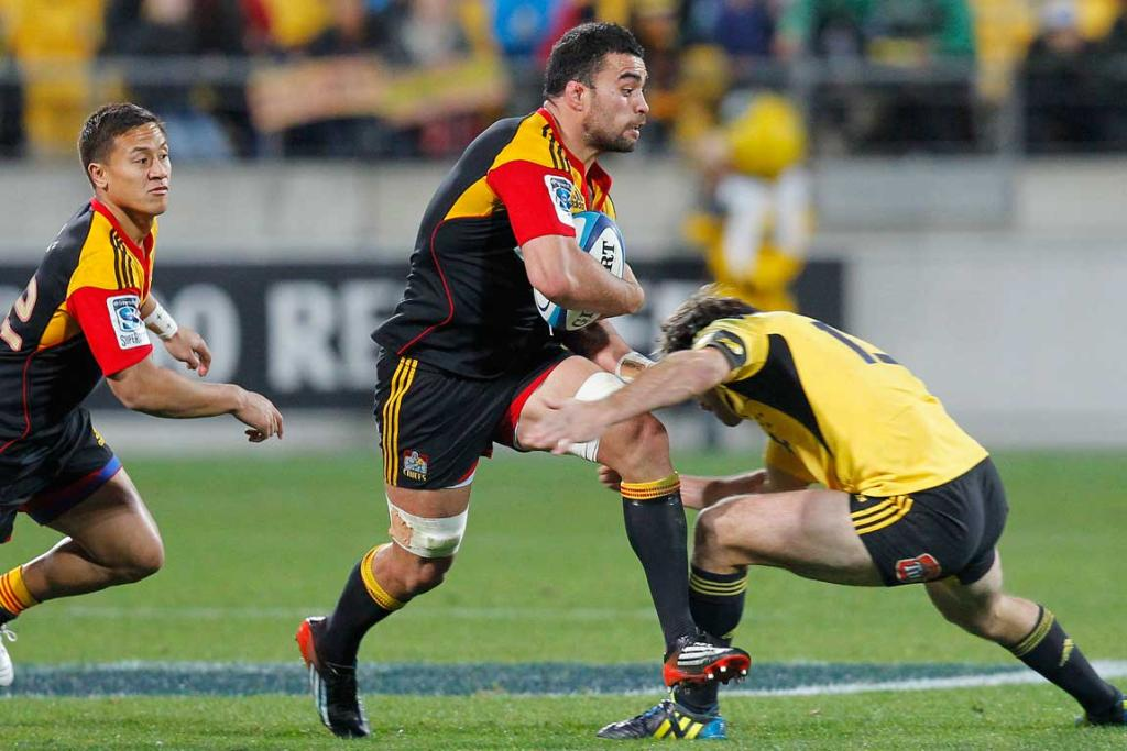 Chiefs' Liam Messam in action against the Hurricanes.