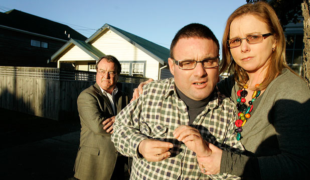ntellectually impaired man Richard Heather was kicked out of the IHC house he had been living in for eight years. He is pictured with his father, David Heather, and sister, Kirsty Ferguson.