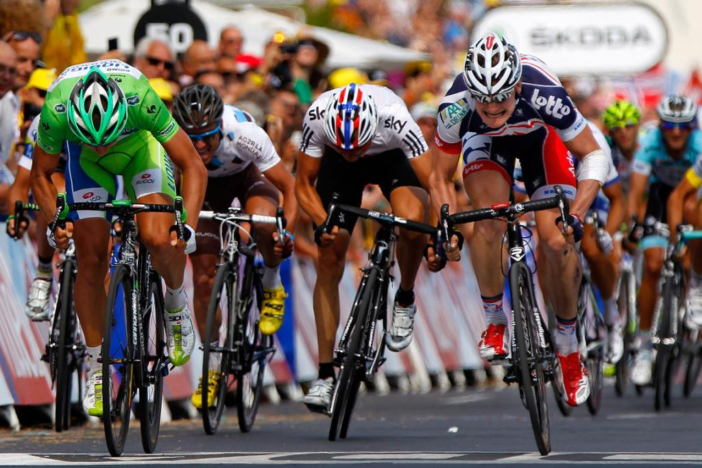 Andre Greipel (R) takes first place ahead of Peter Sagan in stage thirteen of the 2012 Tour de France.