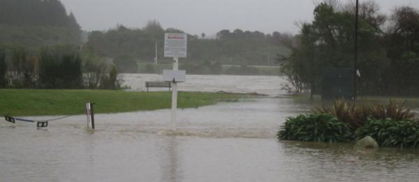 Looking towards the flooded Buller River from the Westport side.