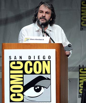 Director Peter Jackson speaks at the preview of The Hobbit: An Unexpected Journey during Comic-Con International 2012 in San Diego.