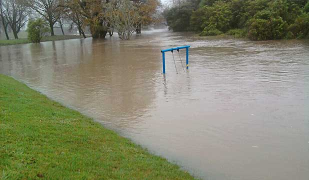 A swing not far from the Buller Bridge, the entrance to Westport. Early this morning the Buller River was at 11.3 metres - its historic high being 11.8 in 1970.