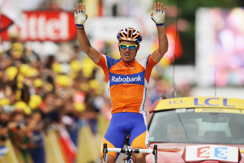 Luis-Leon Sanchez of Spain celebrates winning stage fourteen of the Tour de France from Limoux to Foix.