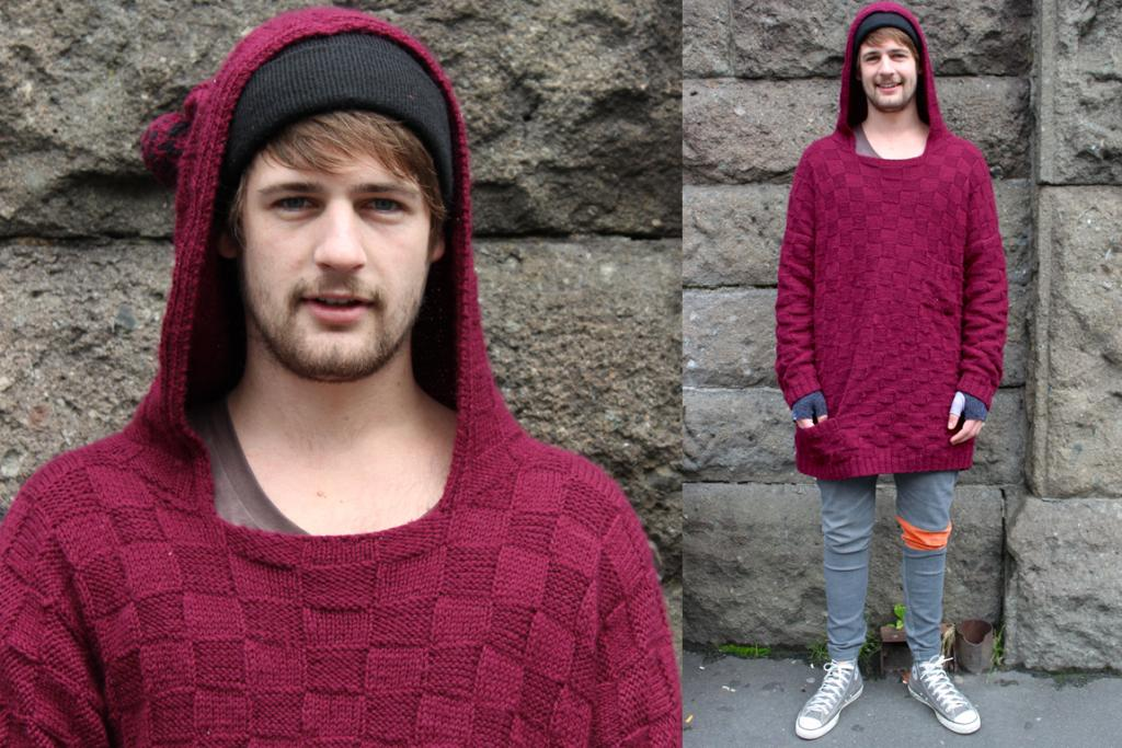 Richie, photographed on Moray Pl, Dunedin, wearing jersey and pants by Clothes I've Made.