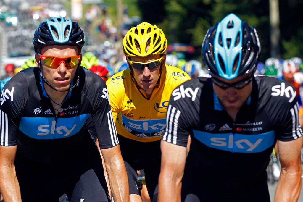 Tour leader Bradley Wiggins is flanked by SKY Procycling team-mates during the 15th stage.