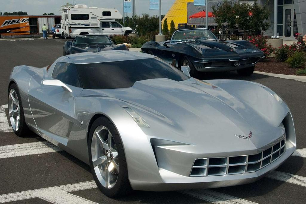 "Stingray concept car, ""Sideswipe"" from the Transformers movie, outside the US National Corvette Museum in Kentucky."
