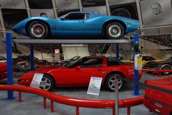 A display inside the US National Corvette Museum in Kentucky.