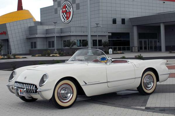 This rare 1953 Corvette, parked outside the US National Corvette Museum in Bowling Green, Kentucky, was one of the first 300 made.