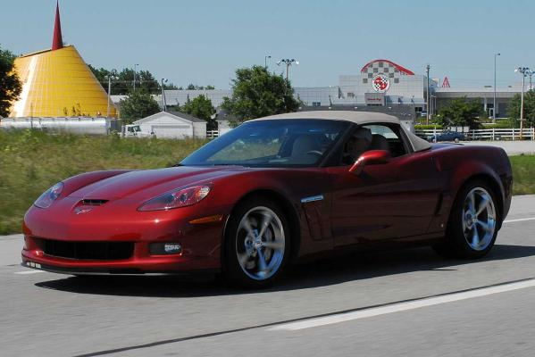 A 2010 Grand Sport Corvette takes off from the US National Corvette Museum in Bowling Green, Kentucky.