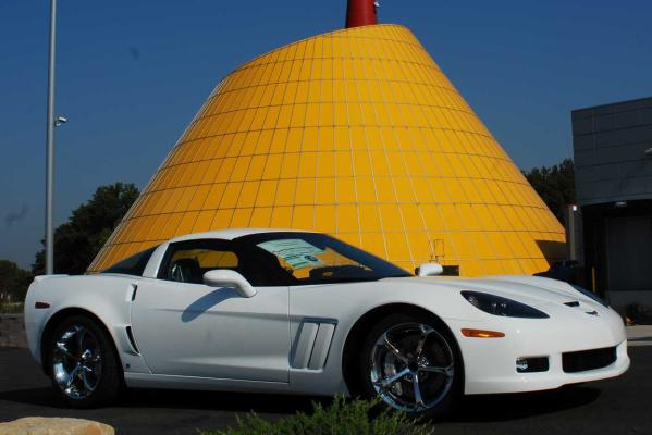 This 2010 Grand Sport Corvette catches some rays beneath the skydome spire at the world-famous US National Corvette Museum in Bowling Green, Kentucky.