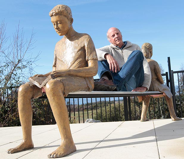CREATIVE BENCH: Artist Derek Ball with one of the sculptures he has made for Puzzling World in Wanaka.