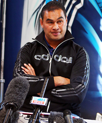 FINAL HIT: Departing Blues super rugby coach Pat Lam speaks to media during a final press conference. .