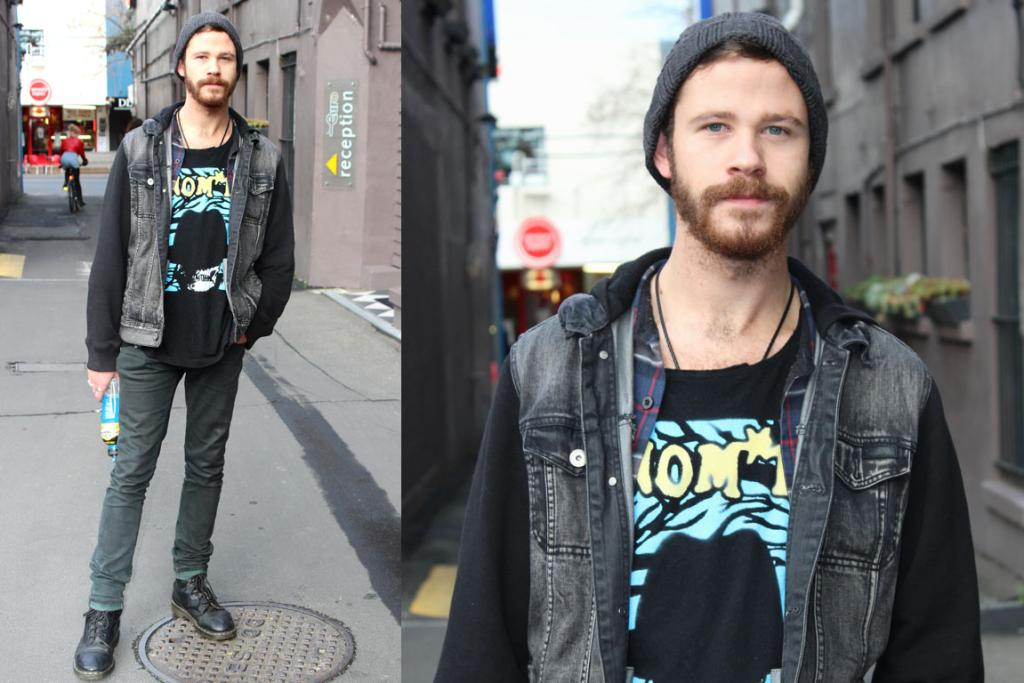 Danny, photographed on Cambria Pl, Dunedin, wearing Nom*D t-shirt, Volcom jacket and Doc Martens.