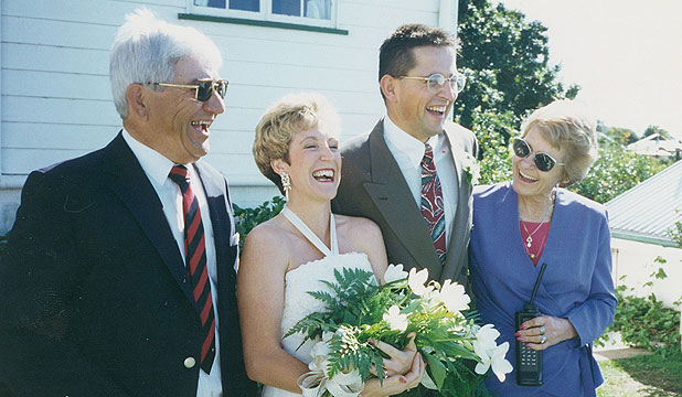 HAPPIER TIMES: : Donald and Irma Murray, far left and far right, with newlyweds Nathan Murray and wife Michelle. Image from 1993.