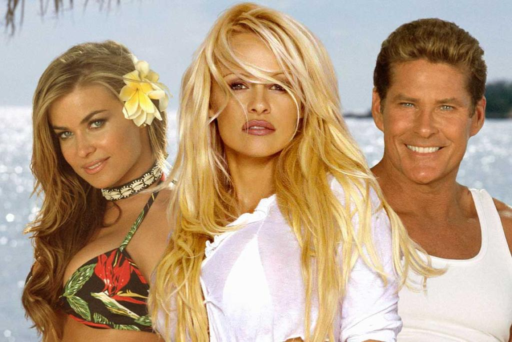 Beach-time:The Hoff along with Baywatch co-stars Carmen Electra and Pamela Anderson.